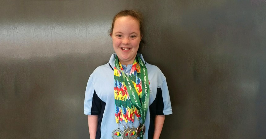 Megan wins five medals at the Special Olympics
